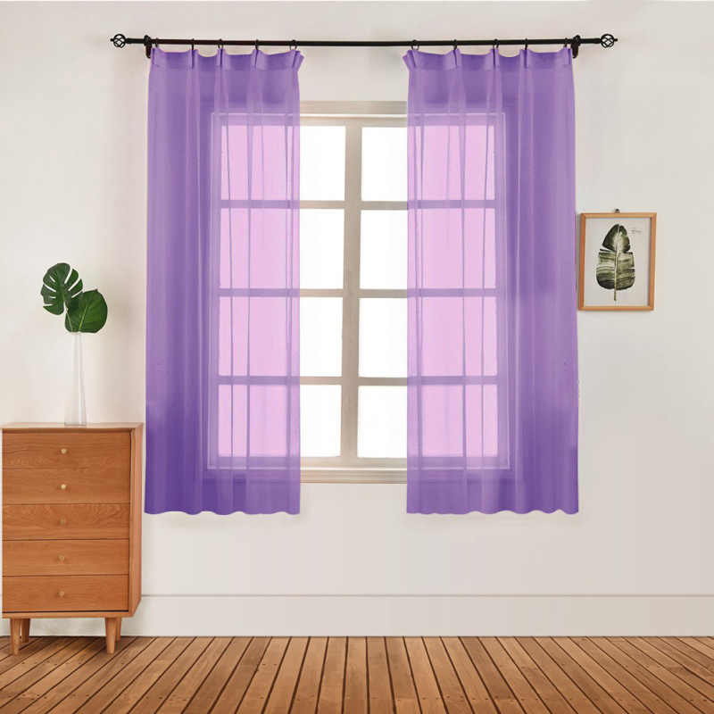 100x130cm Curtain Pure Color Tulle Door Window Curtain Drape Panel Sheer Scarf Valances Modern Bedroom Living Room Curtains