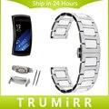 Cerâmica & stainless steel watch band com adaptadores para samsung engrenagem ajuste 2 sm-r360 butterfly fecho alça de pulso cinto link pulseira