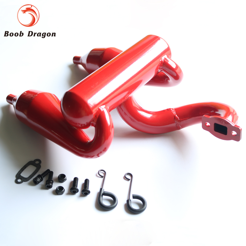 Red double exhaust pipe Dual Exhaust tune pipe For Losi 5ive T Rovan LT King Motot X2