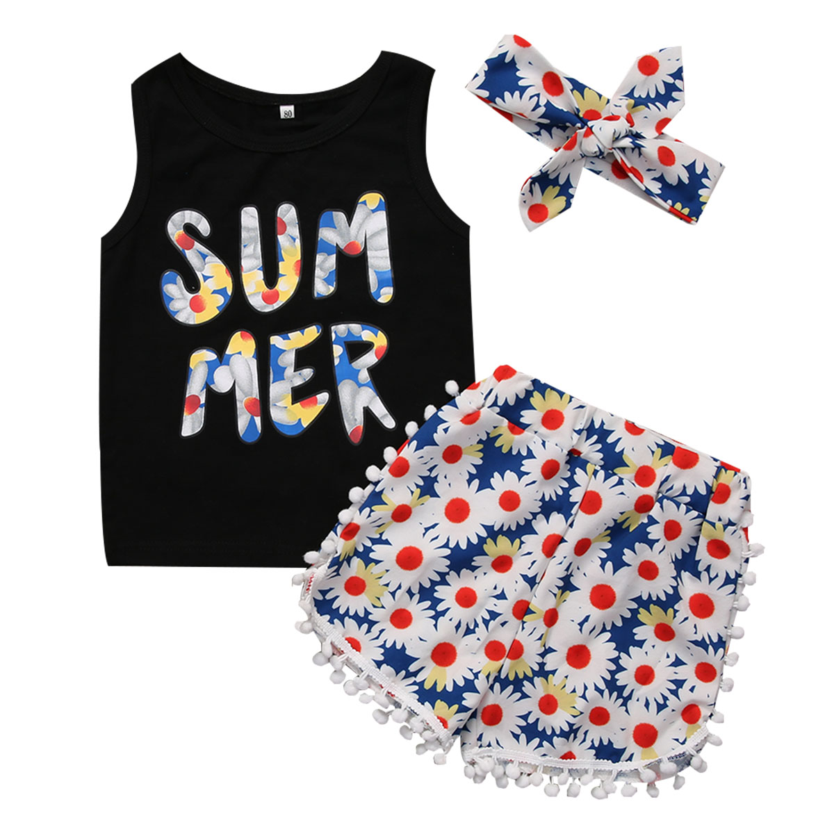 3PCS Kids Girls Clothes Set 2017 Summer Vest Tops Floral Tassel Short Pants Headband Outfits Children Clothing Set Age 2-7Y 3 pcs set girls baby clothing sets sleeveless shirt tops floral pants headband vogue clothes 2 6 year hot selling