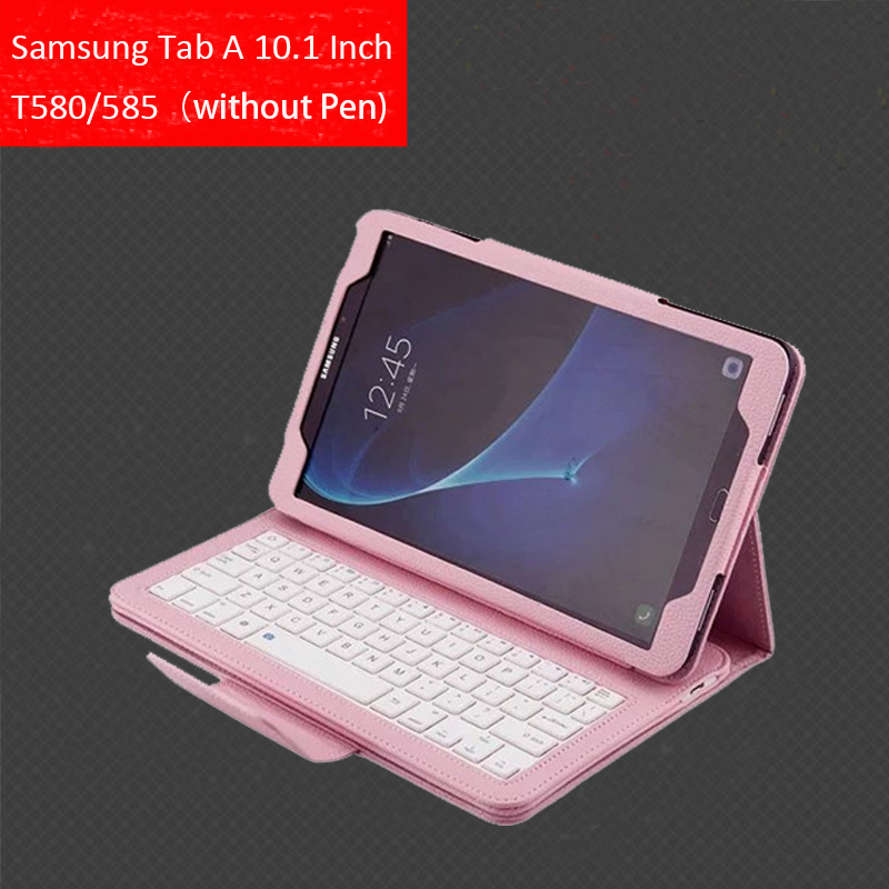 For Samsung Galaxy Tab A A6 10.1 2016 SM T580 T585 Bluetooth Keyboard Case , Magnet Absorb Detachable Cover w/ Kickstand Case bluetooth v3 0 59 key keyboard with detachable case for samsung galaxy tab 4 8 0 black