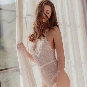 Image 4 - Munllure Ladies Body shaping one piece pajamas corset  Lace Underwear Women Sexy Bra Set Lingerie Bralette Sleepwear