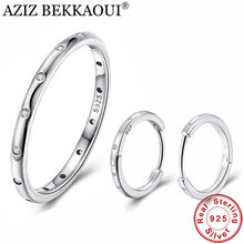 AZIZ BEKKAOUI Simple Style 100% 925 Sterling Silver Hoop Earrings Ring Clear CZ Jewelry Set Wedding Engagement Jewelry Gift(China)