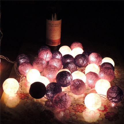 3.9m 35 Led Cotton Ball Christmas Guirnalda Luces De Navidad Wedding Casamento Party Bedroom Decoration String Fairy Lights Lamp