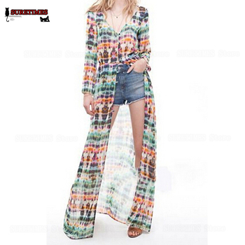 2018 Fashion Sexy Hawaii Floral Long-sleeve Chiffon Dress , women printed Cardigan Chiffon Dress Summer beach Long Dress SML floral chiffon dress long sleeve