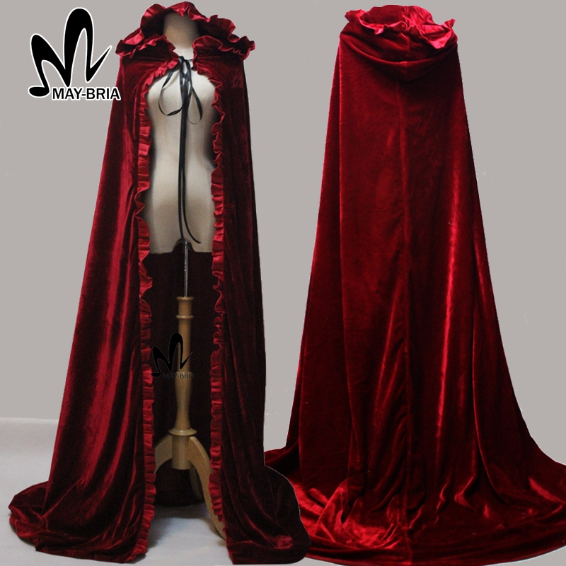 2017 Newest Red Cloak Hood Long Red Cloak For Adult Winter