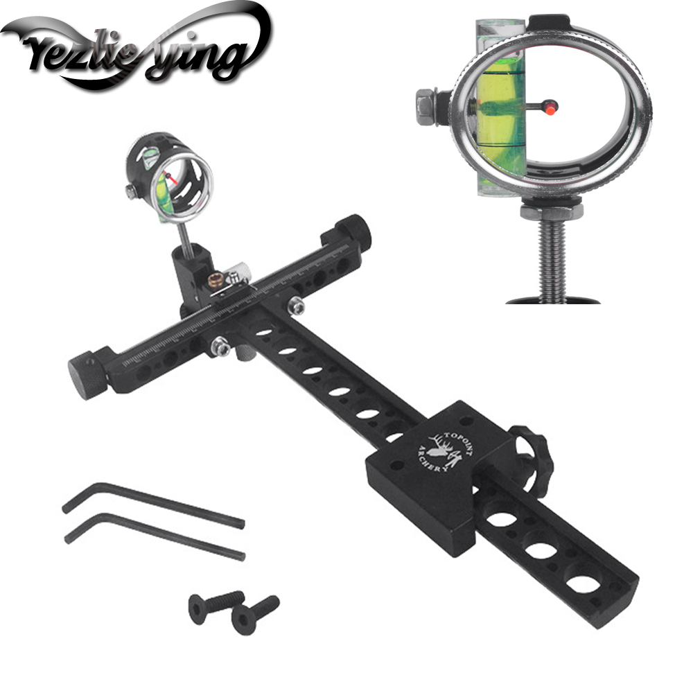 Compound Bow Sight Needle Aiming Long Rod Fine-Tuning Sight 4 Times Magnifying Bow Sight For Shooting Arco e Flecha Accessories