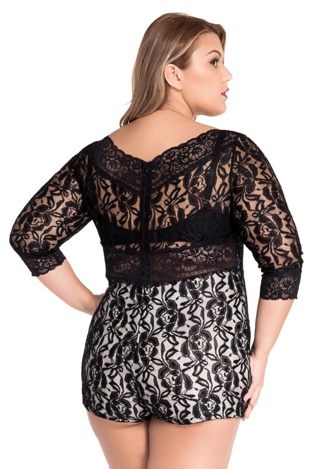 0fb83b023b85 Women Playsuits Shorts plus Size XL Black Lace Overlay Off shoulder Romper  Womens Jumpsuit Bodysuits Monos Bodycon Overalls-in Rompers from Women s  Clothing ...