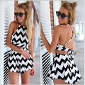 2017 New Women Two Piece Outfits CropTop and Shorts Pants Set Women Casual Black and White Striped Suits Summer Women Set Femme