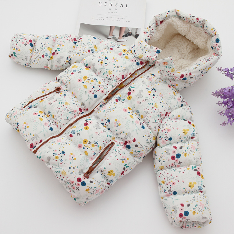 girl winter jacket boy warm hooded coat 12m 5t children fashion cute clothing kid cute clothes girl new long sleeve outerwear New Autunm Cute Flower Hooded Girls Coat Top Winter Warm Kids Jacket Outerwear Children Snowsuit Clothing Baby Girl Lamb Coats