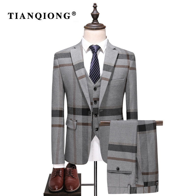 TIAN QIONG 2018 New Arrival High Quality Plaid Single Breasted Blue Gary Casual Suits Men,men's Wedding Dress, Plus-size S-5XL