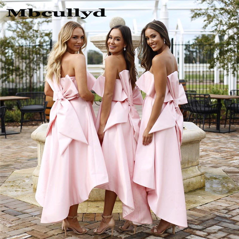 Mbcullyd Babby Pink   Bridesmaid     Dresses   With Big Bow Back Wedding Gust   Dress   2020 Sexy Hi-low A-line vestido madrinha