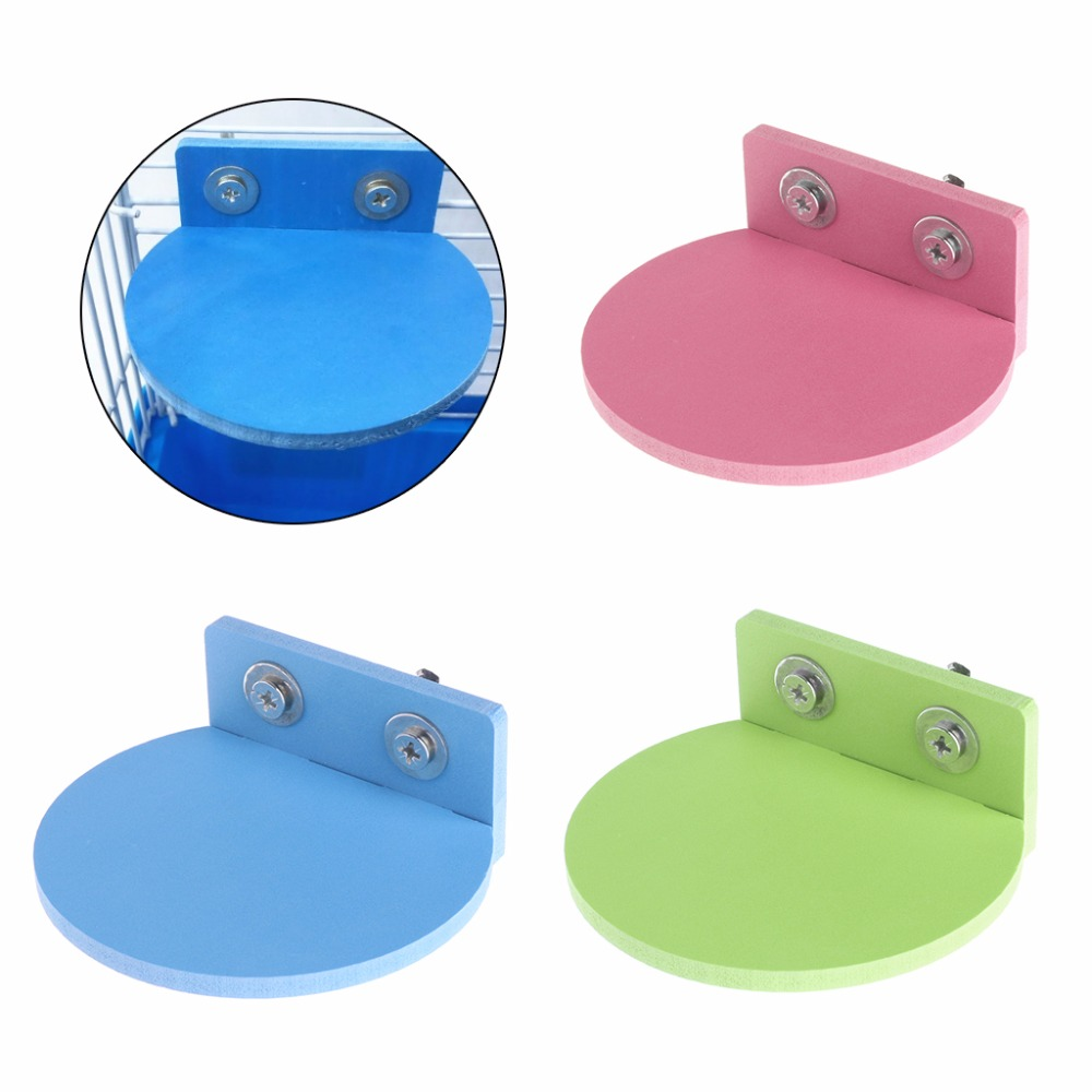 1Pc Hamster Platform Stand Rack Toy Round Squirrel Cage Accessories Colorful Wooden Decor Plate Toys Small Pets Supplies S/L C42