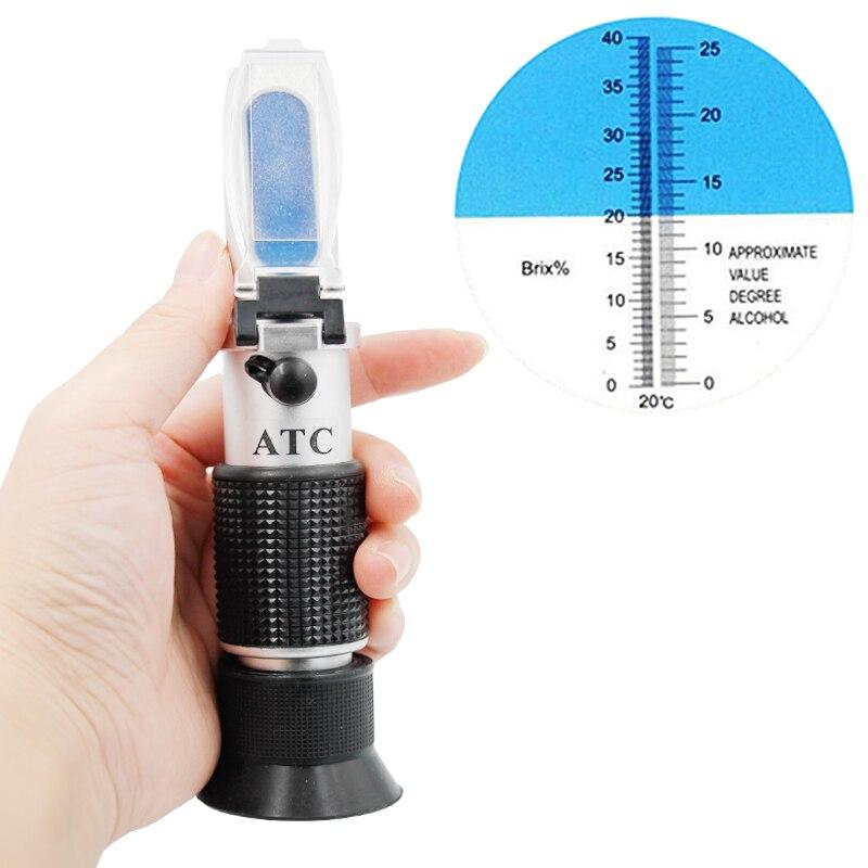 Hand 0-40% brix 0-25% alkohol Refraktometer Tester für Alkohol Brix Wort Bier Wein Obst Traube zucker Zucker ATC