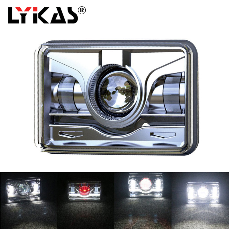 LYKAS 4x6 Square LED Headlights with Daytime Running Lights High Low Beam Replacement For Ford Trucks Offrord 12V 24V 6000K co light 4x6 led driving light 44w 24w hi lo beam h4 headlights 6000k 1800lm 2150lm the daytime running lights car styling 4x6
