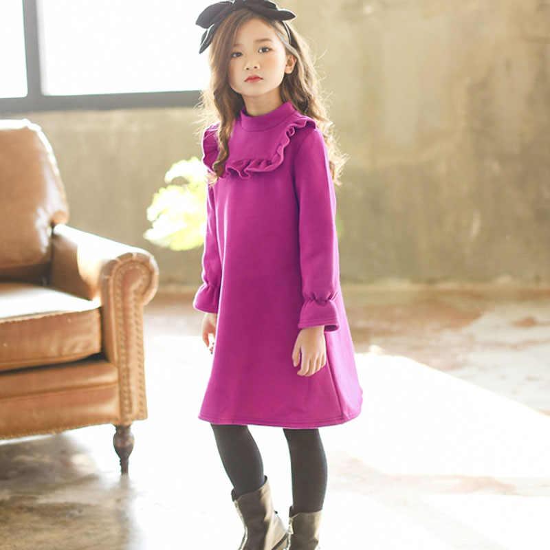 d4cb335b3 Vestido de terciopelo grueso para niñas 2018 Otoño Invierno adolescente  chica cálida polar púrpura sudadera vestido niños volantes princesa ...