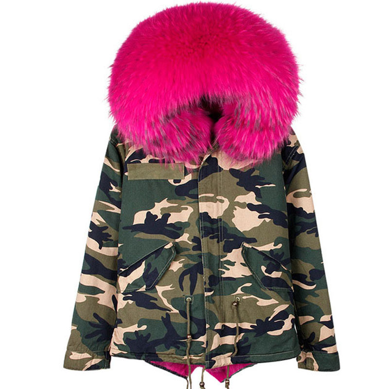 2017 Winter Camo Parkas Large Real Raccoon Fur Collar Hooded Coat Outwear Camouflage Detachable Lining Fur Winter Coat AS0009 2017 women winter camo parkas large raccoon fur collar hooded coat outwear 2 in 1 detachable lining long jacket brand style
