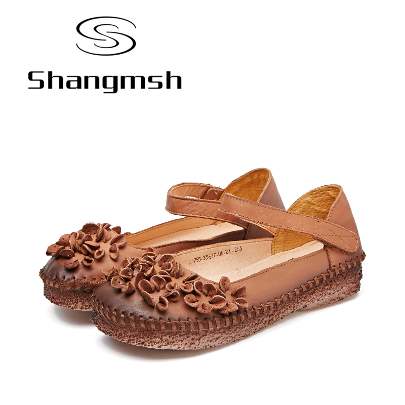 Shangmsh 2017 Women Casual Shoes Female Genuine Leather Floral Loafers Shoes Ladies Fashion Flower Slip On Shallow Flats Shoes 2017 summer new fashion sexy lace ladies flats shoes womens pointed toe shallow flats shoes black slip on casual loafers t033109
