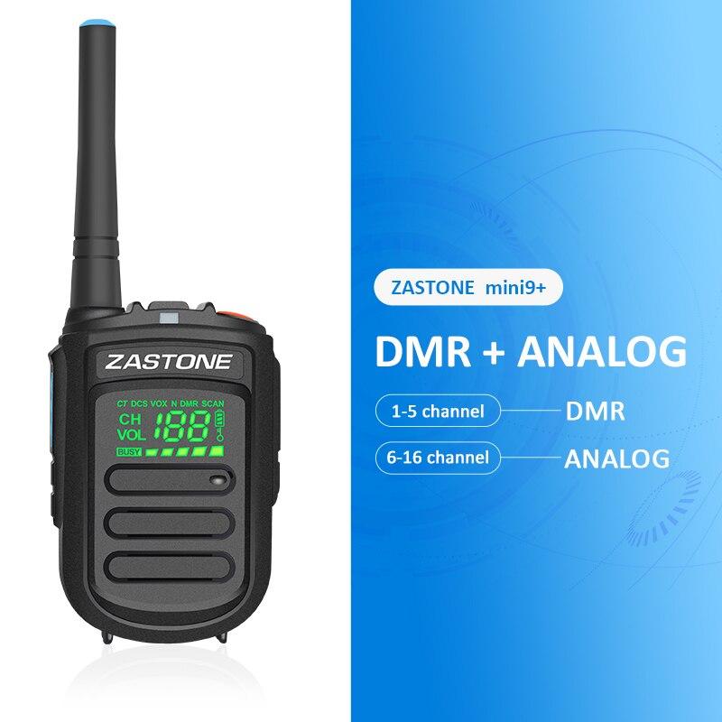 ZASTONE Mini9 DMR Digital Analog Mini Walkie Talkie 2W UHF 400 470MHz 1500mAh Portable Two way
