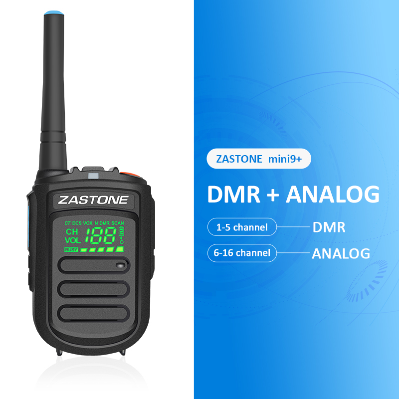 ZASTONE Mini9+ DMR Digital Analog Mini Walkie Talkie 2W UHF 400-470MHz 1500mAh Portable Two-way Radio Communicator Transceivor