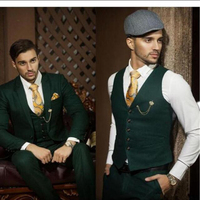 High quality 3 Pieces Dark green suits Men's Wedding Suits Prom Groom Groomsmen Tuxedos Customed Party Casual Suits Business
