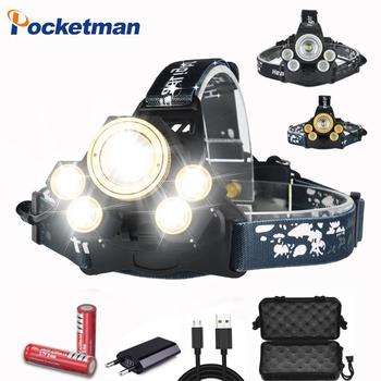 LED Headlamp Zoomable 50000Lm T6 +4*XPE Head Flashlight Torch USB Rechargeable Head Light Forehead Lamp Head Fishing Headlight boruit 30000lumens xml t6 xpe led headlamp 5 mode zoomable headlight usb charger head torch fishing flashlight 18650 battery