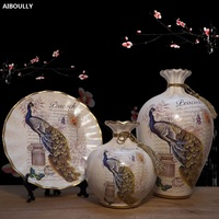 3PCS European Ceramic Vase Home Furnishing Decorations Crafts Wedding Gift Livingroom Desk Ornament Flower Luxurious Vase Decor