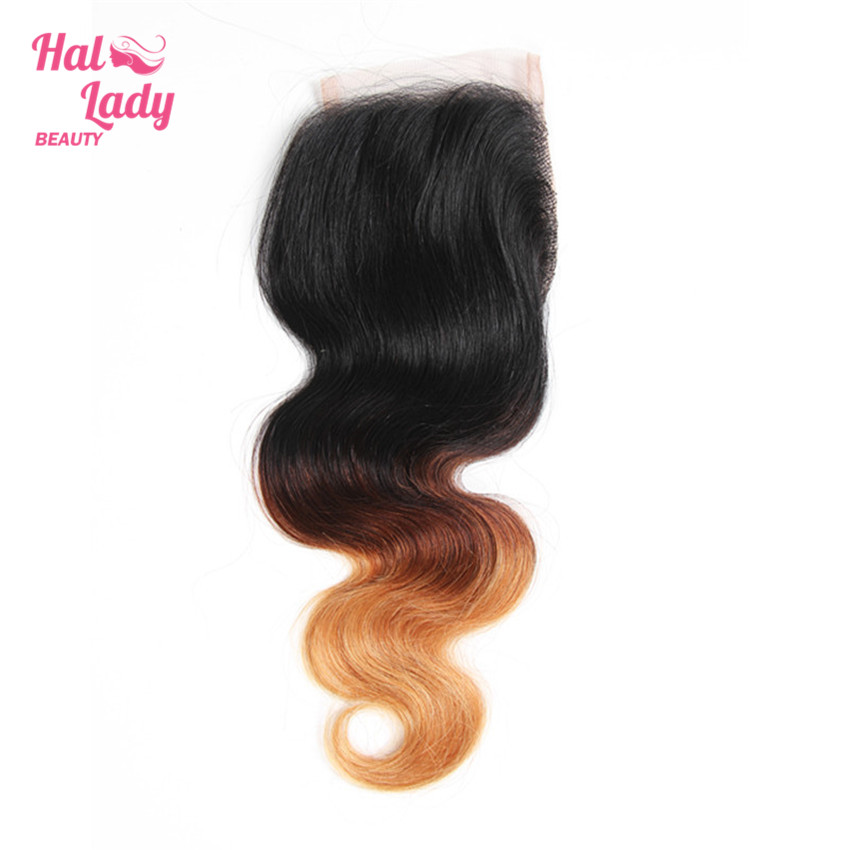 Halo Lady Beauty Ombre Hair Closure (4x4) T1B/4/27 Free Part Body Wave Lace Closure With Baby Hair Brazilian Non Remy Human Hair