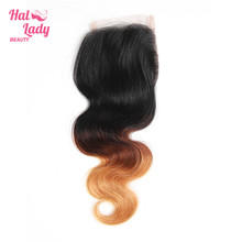 Halo Lady Beauty Ombre Hair Closure (4x4inch) T1B/4/27 Free Part Body Wave Lace Closure With Baby Hair Brazilian Human Hair