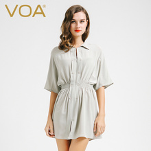 VOA Summer new 2017 whirt color pure silk crepe fabric blouse female half sleeve casual slim elastic waist fold long shirt B6685