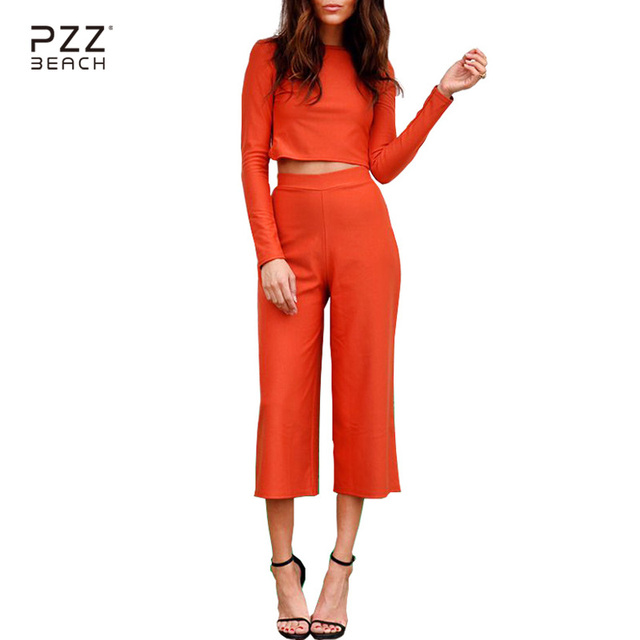 ef753560303 Summer Two Piece Orange Solid Calf-Length Pants Rompers Womens Jumpsuit  Long Sleeve Sexy Backless
