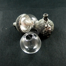 vintage style antiqued silver oak nut 20mm glass dome set DIY pendant charm supplies 1830050