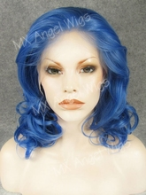 K19 Cheap Charming 16inch Wavy Blue Color Synthetic Lace Front Wigs Heat Resistant Heavy Density kanekalon Women Cosplay Wigs
