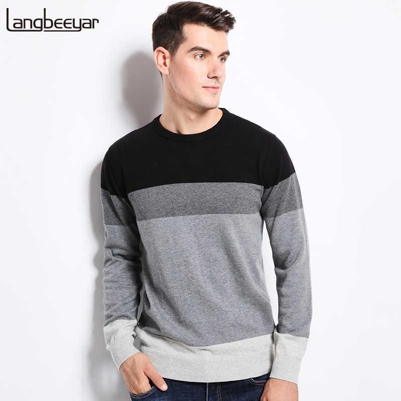 87a0d4ad55341 2019 Новый осень-зима модная брендовая одежда Для мужчин свитера с круглым  вырезом Slim Fit