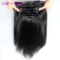 Ali Natural Brazilian Straight Hair Clip In Human Hair Extensions Natural Color 10 Pieces/Set 120G Non Remy Hair Full Head