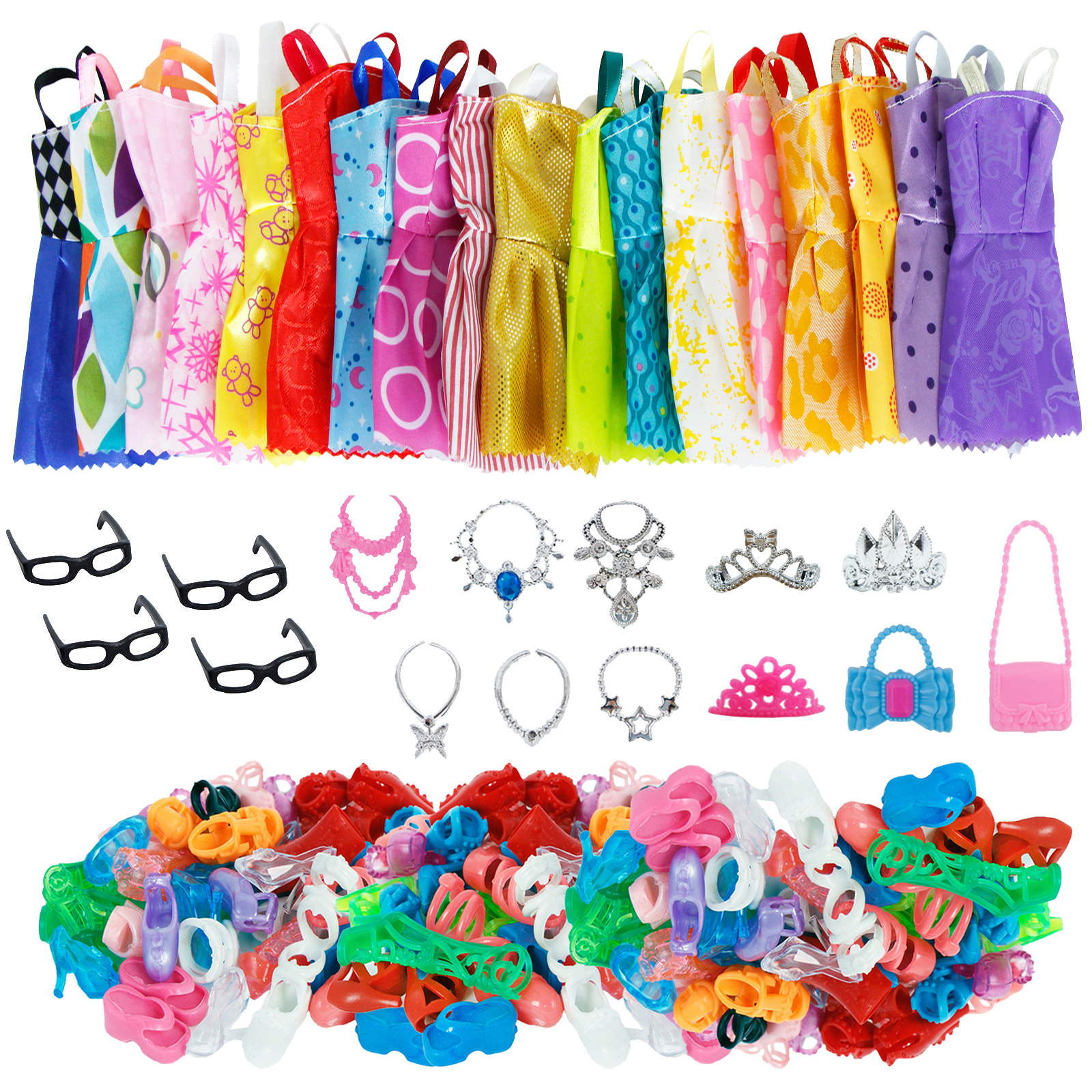 35 Item/Set Doll Accessories = 10 Shoes  + 6 Necklace 4 Glasses 3 Crowns 2 Handbags + 10 Pcs Doll Clothes Dress For Barbie Doll