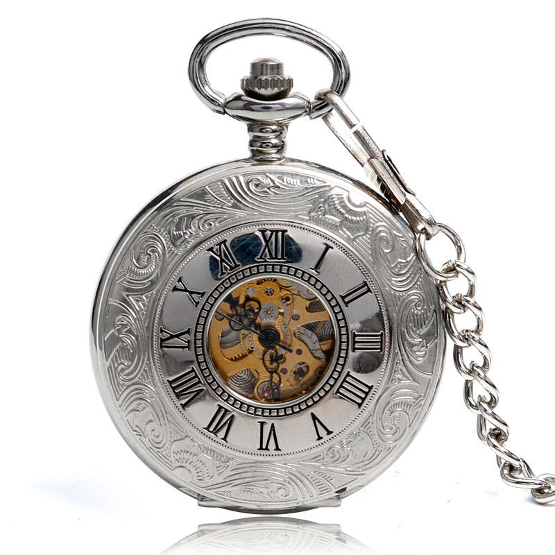 Retro Silver Roman Numbers Skeleton Men Pocket Watch Hand Winding Mechanical Fob Watches Chain Vintage Double Open Clock Gift