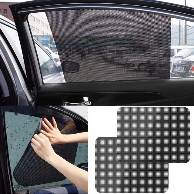 Unique Auto Care 2Pcs Black Side Car Sun Shades Rear Window Sunshades  FV41