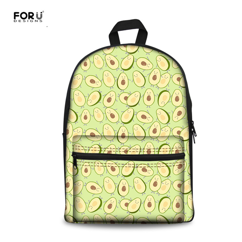 FORUDESIGNS Fashion Fruits Avocado Printing Kids Boys Girls School Backpack Students Shoulder Book Backpacks Casual Travel Bags