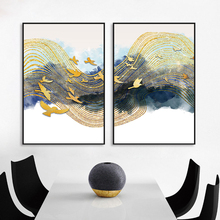 Art Wall Golden Lines Birds Blue Cloud Canvas Painting Pictures for Living Room Bedroom Home Decor Poster and Prints Unframed