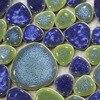 Blue Green Porcelain Tile Pebble Mosaic Kitchen Backsplash Bathroom Swimming Pool Wall Tiles Shower Garden Balcony