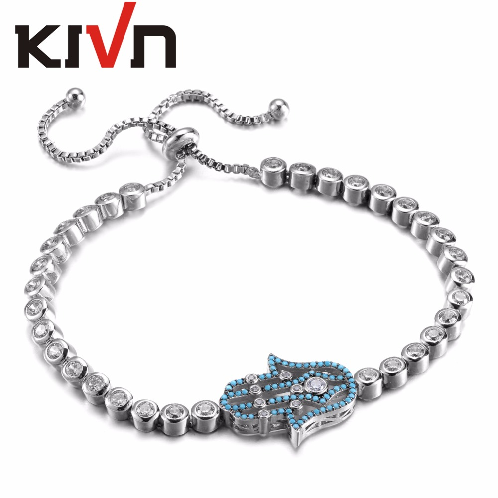 KIVN Fashion Jewelry Adjustable Bolo Hamsa Hand Charm Pave CZ Cubic Zirconia Bridal Wedding Bracelets for Women