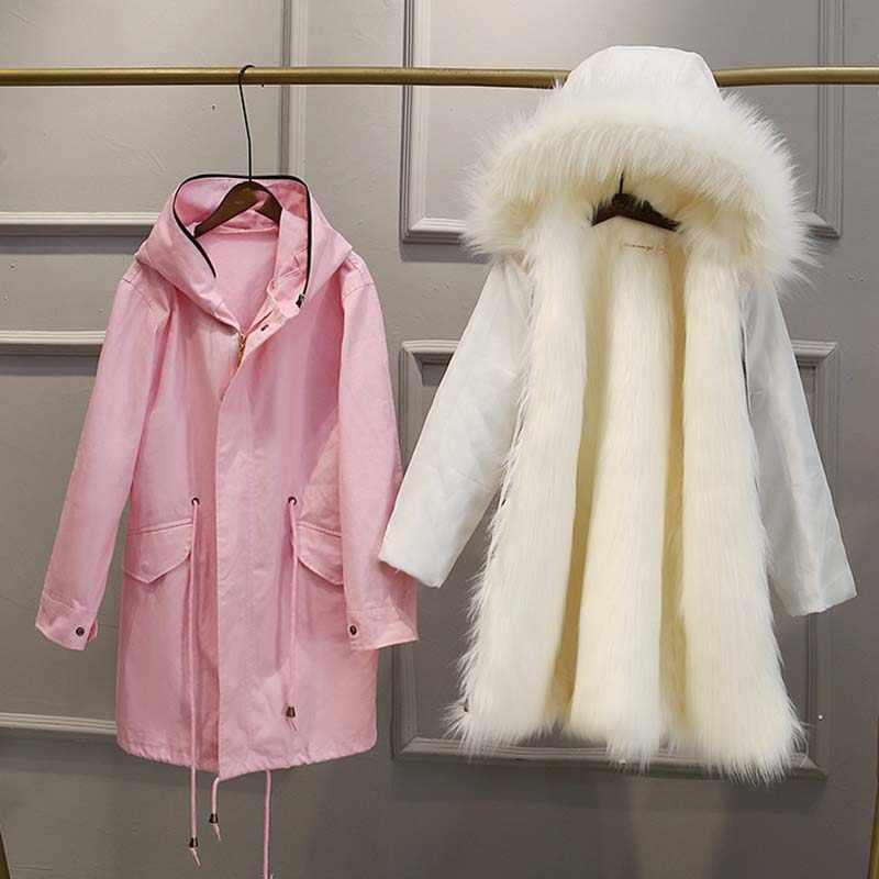 פרווה & פו פרווה חורף אופנה גדול גודל נשים של פרווה מעיל 2019 חדש אניה להסרה חיקוי שועל פרווה נשים של פרווה מעיל NUW605