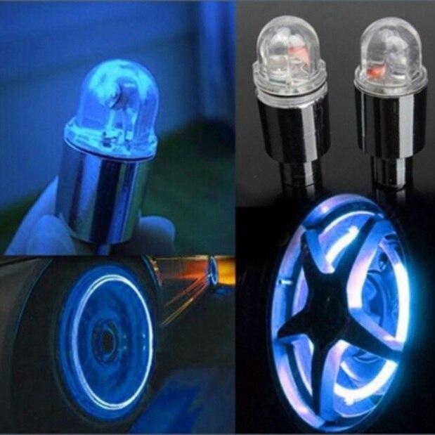 Accesorios de bicicleta de diseño de coche, lámparas LED de Caps 2PC de neumáticos estroboscópicas azules de neón para automóviles, accesorios para automóviles