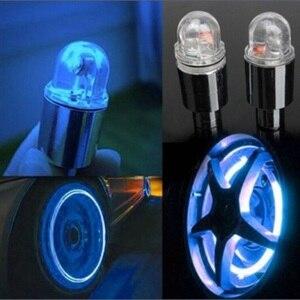 Image 1 - تصفيف السيارة لوازم الدراجة النيون الأزرق ستروب LED الاطارات Caps 2PC LED مصابيح للسيارات اكسسوارات السيارات