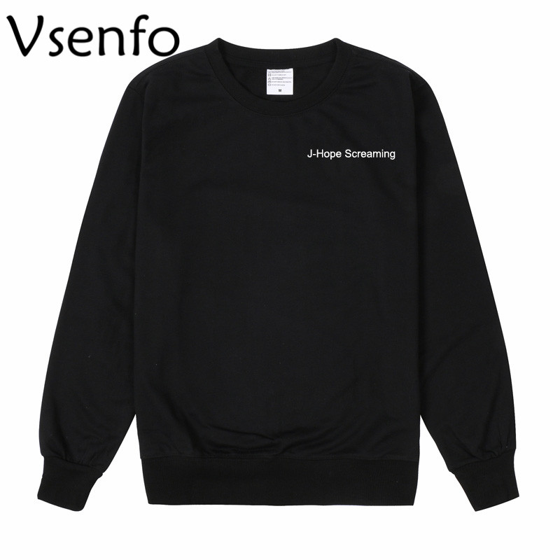 Vsenfo Womens Hoodie Korean Pop J-Hope Screaming BTS Crewneck Sweatshirt Casual Long Sleeve Kpop Bts Sweat Femme Sudadera Mujer