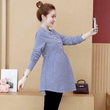 907# вышивка полосатый галстук Талия блузки для беременных весна осень модные рубашки Одежда для беременных женщин топы для беременных