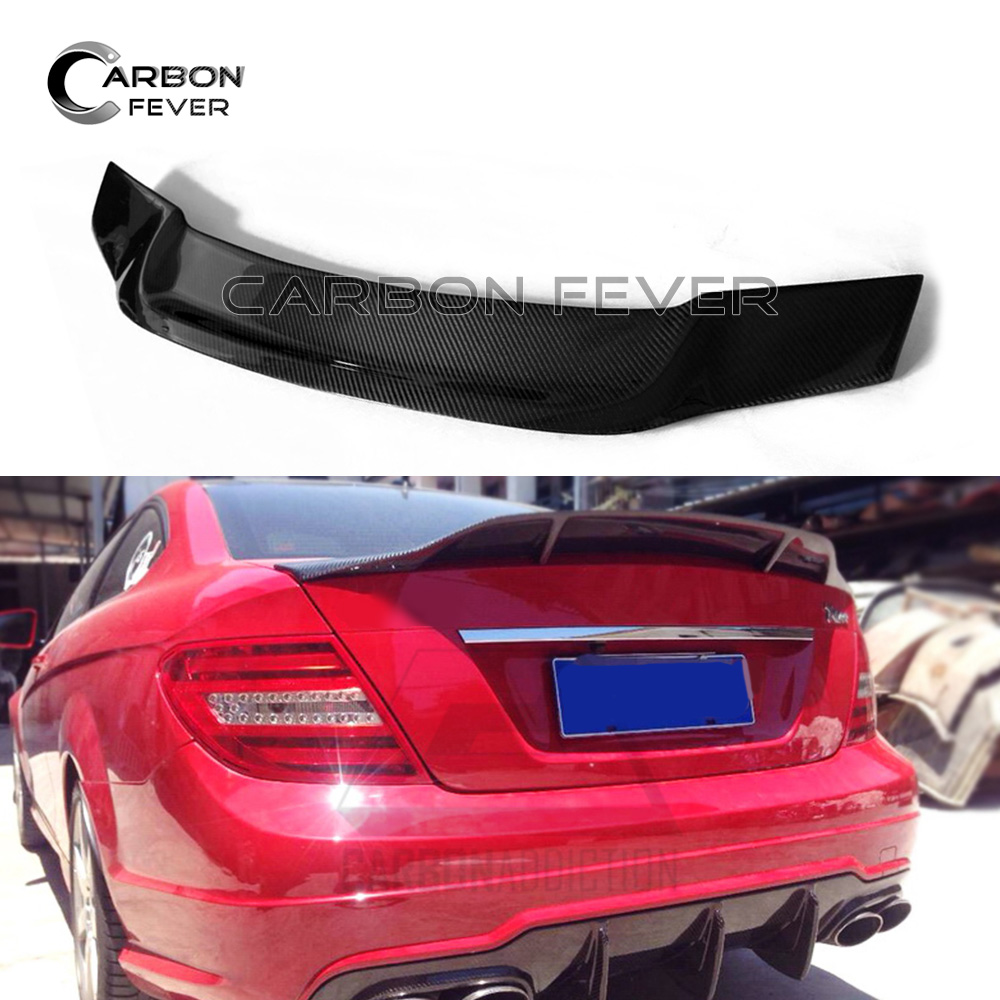 W204 Carbon Fiber Rear Trunk Spoiler Wing For Mercedes C Class W204 Coupe 2007 - 2014 C300 цена