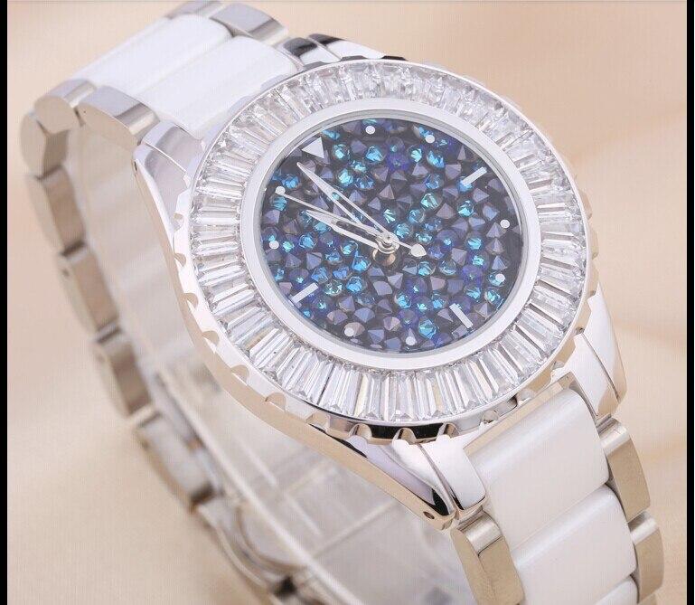 Fashion Brand Elegant Lady Ceramic Bracelet Watches High Quality Austrian Crystals Dress Wristwatch Quartz Relojes 3ATM WA083