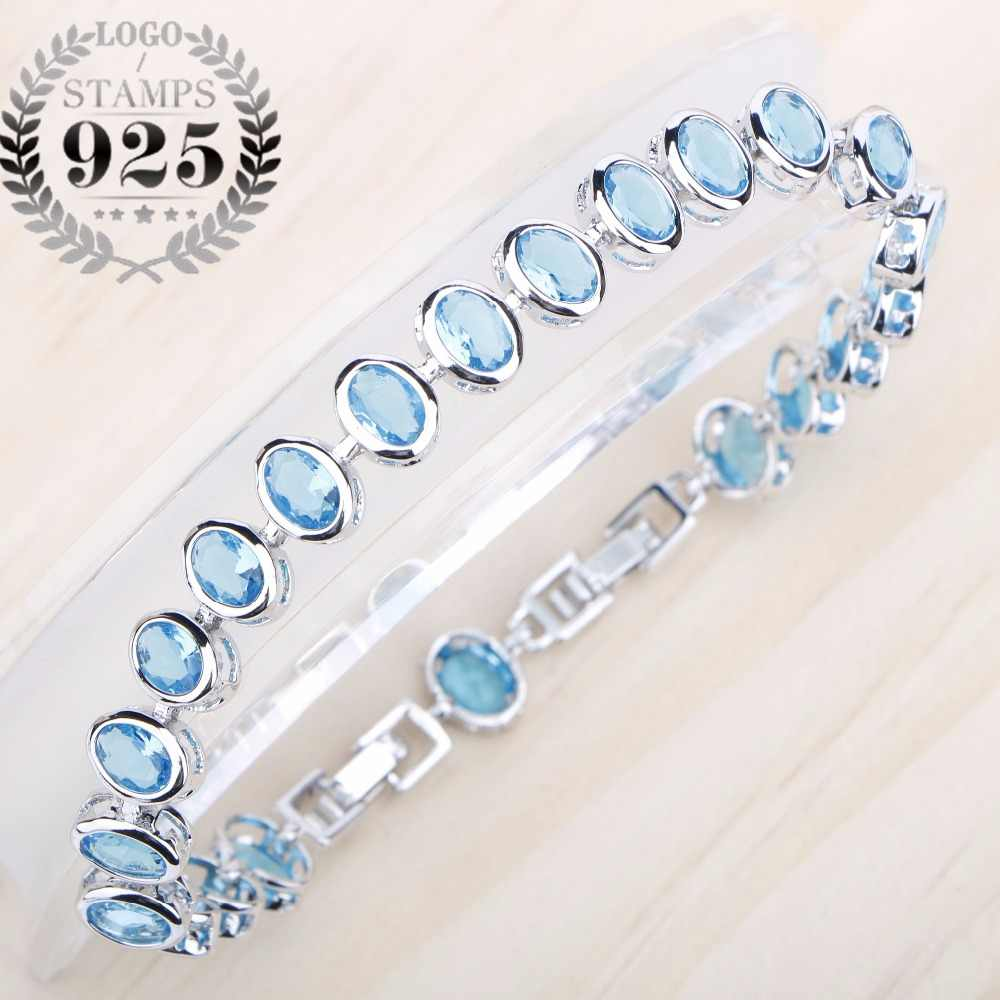 Silver 925 JewelryClassic Bracelets For Women Blue Zircon Stones Length 20CM Two Buttons Free Gift Box
